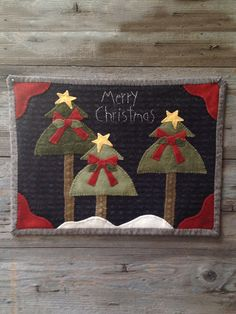 Christmas Wool Pattern - We Three Trees - Wooden Spool Designs - 12 x by HeavenlyHomeQuilts on Etsy Christmas Wall Hangings, Cool Christmas Trees, Felt Christmas Ornaments, Christmas Signs, Christmas Crafts, Xmas Trees, Christmas Stockings, Christmas Ideas, Christmas Decorations