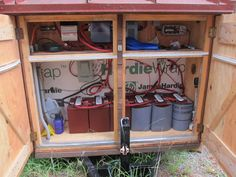 Electrical and batteries for solar: This tiny house is 100% solar-powered, coming from two 225 panels that sit on top of the porch awning, and six TrojanT-105 batteries. It uses AC and DC lighting, and the water heater, fridge, and RV water pump are on DC