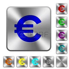 Iconos con el signo del euro grabados en los botones redondos de acero cuadrados.