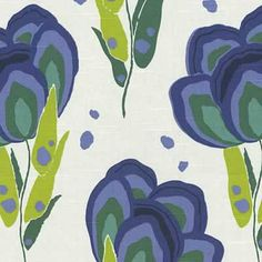 Annie Selke Happy Poppys Blue Marine Designer Fabric