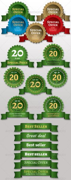 Price Stickers & Ribbons  #GraphicRiver         Price Stickers & Ribbons    	 4 sets of full Vector Price Stickers & Ribbons. All Graphics and fonts are 100% customizable, changing colors and fonts is very easy!  Included : AI (CS3), EPS (10)    	 The pack includes   - 4 sets customizable 100% vector labels and ribons  - Each design uses free fonts  - Elements are clearly labeled and organized    	 Free Font used:   Alegreya –  .fontsquirrel /fonts/alegreya?q=Alegreya  Courgette Regular –…
