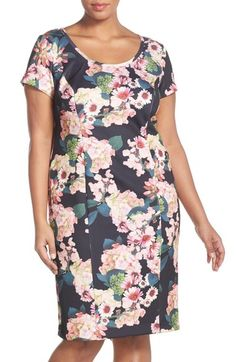 d5b2e827a8c Adrianna Papell Floral Print Scuba Sheath Dress (Plus Size) available at   Nordstrom Adrianna