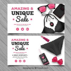 #Summer #Sale #Banners that I have designed for #Freepik. #GraphicDesign #ElegantStyle #SwimmingSuit #Ribbon #Femenine #Pink #Realistic