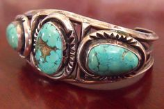 SOLD : Vintage Navajo Turquoise and Silver Bracelet / / Native American Cuff Jewelry