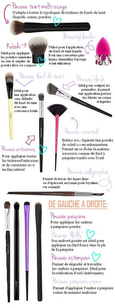 guide pinceaux maquillage women beauty and make up Make Up Art, Eye Make Up, How To Make, Eyeliner Make-up, Eyeshadow, Beauty Blender, Makeup Tools, Makeup Brushes, Sephora