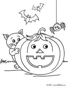 Smiling Pumpkin With Halloween Friends Coloring Page Do You Like To Color Online Enjoy This