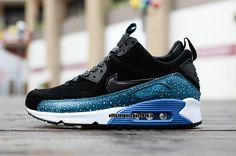 best sneakers fdc16 e3544 Officiel Nike Air Max 90 Sneakerboot Chaussures Nike Pas Cher 2016 Pour  Homme Blanc - Bleu - Noir