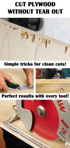 Wood Profit - Woodworking - Simple tricks for clean cut on plywood and veneered wood! No more nasty tear out! Cut plywood like a pro carpenter! Discover How You Can Start A Woodworking Business From Home Easily in 7 Days With NO Capital Needed! Learn Woodworking, Woodworking Techniques, Easy Woodworking Projects, Popular Woodworking, Woodworking Furniture, Diy Wood Projects, Woodworking Tools, Wood Crafts, Woodworking Jigsaw
