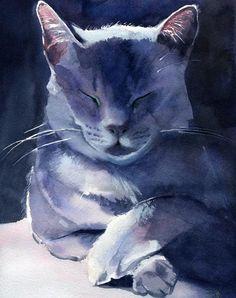 Gris fumée, Rachel Parker, peintures de chat