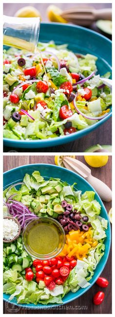Isn't this gorgeous? Greek Salad with Zesty Lemon Dressing via Natasha's Kitchen #fresh #healthy