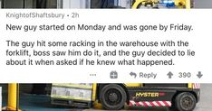 Some people have the ability to get fired so fast it's like a challenge. #fired #coworker #wtf #stories