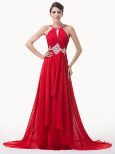 3f7d7ae8188a Rosso sposa Abito elegante lungo da donna damigella cerimonia vestito festa  ball 6 Vestiti Da Ballo