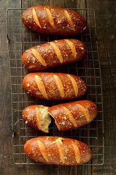 Beer pretzel hot dog buns