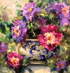 Artists Of Texas Contemporary Paintings and Art - Peonies From Heaven and a Weekend Celebration by Flower Artist Nancy Medina