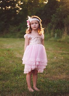 Gold & Pink Sequin, Chiffon and  Lace Dress, Flower Girl Dress, Photo Session Dress, Photo Shoot Dress, Birthday Dress, Toddler Dress, Boho by GoodLifeApparel on Etsy