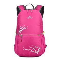 TOFINE Tourist Packable Backpacking Travel Backpack Foldable for Girls Hot Pink 20L. Perfect for trail running or light-and-fast day hikes, this lightweight and trim fitting pack is designed to haul a hydration bladder, food, and compact outerwear. Featuring our TOFINE for maximum airflow and comfort, a modular bungee system for compression or cargo hauling expandability. It has an internal water bottle pocket, so no worries about your bottle falling out and spilling everywhere. It also…