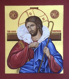 Christ — The Studio of John the Baptist Religious Images, Religious Icons, Religious Art, Christ The Good Shepherd, Good Shepard, Our Lady Of Sorrows, Byzantine Icons, John The Baptist, Blessed Mother