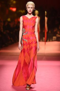Pink & orange harlequin with a bow <3 Schiaparelli Couture Spring 2015