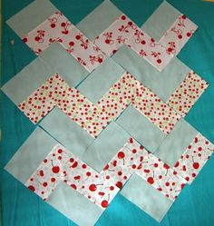 """easy chevron patchwork using 3"""" strips of fabric. Use this method to make Christmas stockings"""