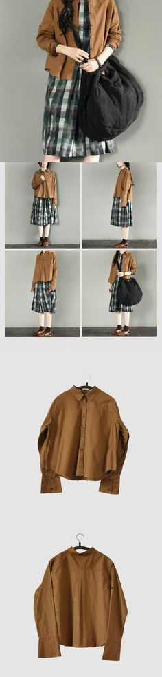 Brown Torn Edges Female Shirt Cotton Top Causel Women Clothes BY fantasylinen