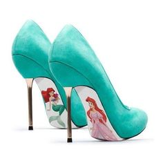 7. Custom Hand Painted Little Mermaid Pumps ❤ liked on Polyvore featuring shoes and pumps