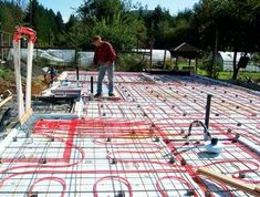 This is about installing hydronic radiant floor heating in a slab floor system. While it was done as a new house was being built, in my last house I poured a. Radient Floor Heating, Hydronic Radiant Floor Heating, Hydronic Heating, In Floor Heating, Radiant Heating System, Underfloor Heating, Heated Concrete Floor, Concrete Slab, Water Heating Systems