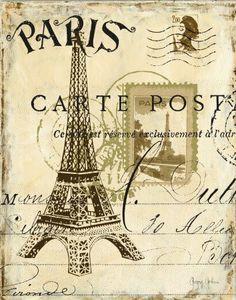 Premium Giclee Print: Paris Collage I - Eiffel Tower Art Print by Gregory Gorham by Gregory Gorham : Decoupage Vintage, Vintage Diy, Vintage Labels, Vintage Postcards, Vintage Paris, Paris Kunst, Paris Art, Images Vintage, Vintage Pictures