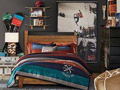 I love the PBteen Emerson Burton Halfpipe Bedroom on pbteen.com ski themed boy's room design/decor