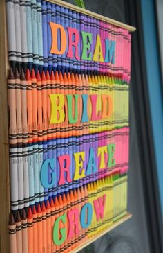Back-to-School Crayon Art - Recycled unused crayons into art for your classroom wall ideas.