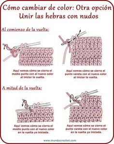 Color change in crochet Crochet Stitches Chart, Crochet Symbols, Crochet Diagram, Crochet Basics, Filet Crochet, Crochet Motif, Knitting Stitches, Crochet Designs, Crochet Patterns