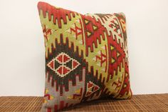 Accent kilim pillow cover 16 x 16 Ethnic Kilim by kilimwarehouse, $53.00