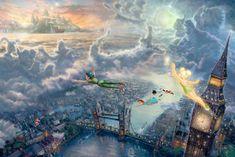 thomas kinkade disney paintings | Thomas Kinkade's Disney Paintings - Peter Pan - Walt Disney Characters ...