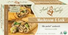 Organic Mushroom & Leek Fillo Pocket Sandwich (5 oz.) - Sauteed #mushrooms and leeks, seasoned with garlic, lemon, salt and pepper, wrapped with Organic #Fillo dough in the shape of a hand-held rectangle. Microwavable. #Healthy: USDA #Organic, #Vegan, #Kosher OU-Parve, Yeast-Free, No Trans-Fat, No Cholesterol. See nutrition or shop online at http://www.fillofactory.com/brands/brands-aunt-trudys.html.