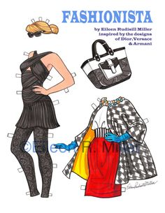 Fashionista Paper Doll and costumes by PaperDollsbyERMiller