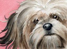 LHASA APSO Dog Watercolor Art Print Signed Artist by k9artgallery