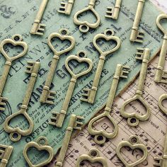 CLEARANCE 40 pcs Brass Heart skeleton Key Charm by PineappleSupply