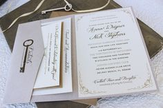 Key to My Heart Wedding Invitation (Printed Pocket Fold)