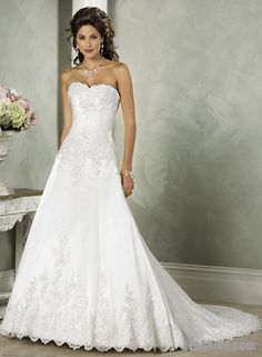 A-line Strapless Chapel Train Satin Wedding Dress with Beading and Embroidery $259