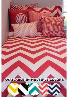 Custom Chevron Craze Designer Teen & Dorm Duvet & Sham Set | Teen Girl Dorm Room Bedding just released color me coral!
