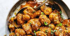 General Tso's Cauliflower: golden brown crispy fried cauliflower tossed in a made-from-scratch sauce. The BEST vegetarian Asian-takeout-style food.