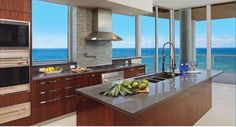 Modern california kitchen with incredible ocean view.  #california #kitchen