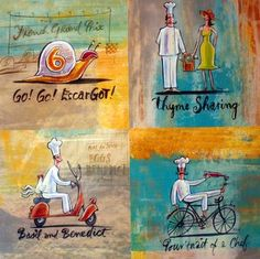 South African artist Frans Groenewald Africa Art, Out Of Africa, Kitchen Confidential, South African Artists, Kitchen Art, Brush Strokes, Chefs, Basil, Decoupage