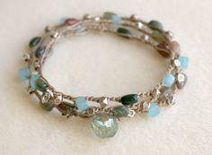 Boho beach-tone bracelet with jasper, amazonite and silver beads on a crocheted triple-wrap ecru band