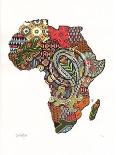 Art by Jan Coetzee: Colour Prints - Africa Africa Map, Out Of Africa, African Tattoo, South African Art, Dancehall Reggae, African Inspired Fashion, Afro Art, African Countries, Arte Pop