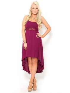 Cut Out High Low Knit #Dress in #Burgundy