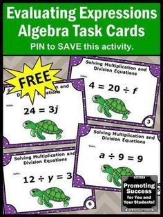 Here are FREE printable basic Algebra 1 task cards with a mix of multiplication and division algebraic expressions and equations for teaching 5th, 6th or 7th grade (upper elementary, middle school) Common Core lesson plans. They work well in your math centers or stations for a scavenger hunt, games of SCOOT or other fun activities. You may use them as review help, for test prep, as a formative assessment or as extra practice for special education.  CCSS.MATH.CONTENT.6.EE.A.2
