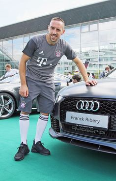 Franck Ribery of FC Bayern poses with his new Audi car during the official car handover at Audi Forum on August 22 2016 in Ingolstadt Germany
