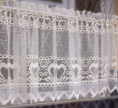 """MforStyle KITCHEN Lace Cafe Curtain CREAM ROMANTIC HEARTS - DROP 24"""" - WIDTH SOLD BY METRES - READY TO HANG HEMMED FINISH: Amazon.co.uk: Kitchen & Home Cream Curtains, Net Curtains, Cafe Curtains, Kitchen Curtains, Curtain Wire, Pelmets, Home Textile, It Is Finished, Romantic"""