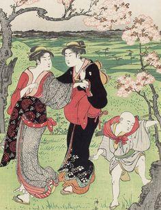 Viewing cherry blossoms at Asukayama.  Ukiyo-e woodblock print, 1787, Japan, by artist Torii Kiyonaga