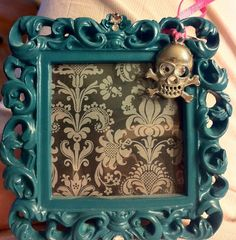 Teal Scroll Skull Charmed Picture Frame